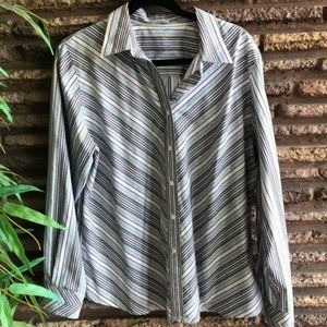 Foxcroft Wrinkle Free Striped Purple Button Front